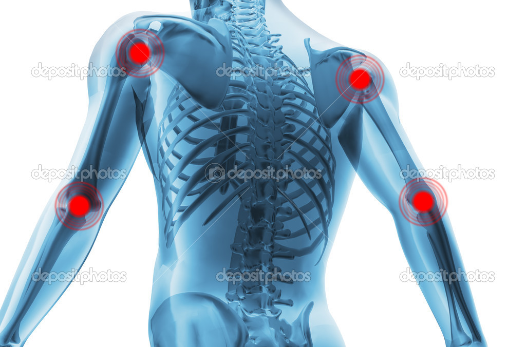 Skeleton of the man with the centres of pains of joints. 3D the image of a man's skeleton under a transparent skin — Foto de Stock   #5945023