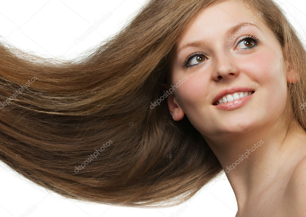Healthy beautiful long hair closeup in motion created by wind. Portrait — Stock Photo #5945120