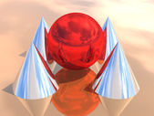 3D red sphere and pyramid — Stock Photo