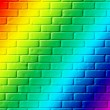 Brick wall painted in colors of a rainbow — Stock Photo