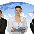 Business and globe on a back — Stock Photo