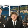 Business and map earth back — Stock Photo