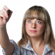 The business woman c felt pen in the hand. Focus on felt pen — Stock Photo