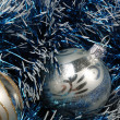 Christmas toy in blue decoration — Stock Photo