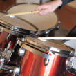 The drummer in action - 图库照片