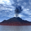 Eruption of a volcano - Stock Photo