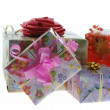 Gift with a pink bow — Stock Photo