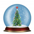 Glass sphere with fir-tree isolated — Stock Photo