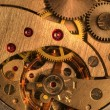 Gold mechanism of analog hours — Stockfoto