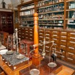 Interior of an ancient drugstore - Stock Photo