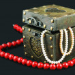 Old casket with jewelry — Stock Photo