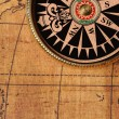 Stock Photo: Old compass and map