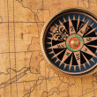 Old compass and map — Stock Photo #6195949