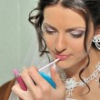 The bride making up — Stock Photo
