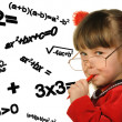 Stock Photo: The girl and mathematical formulas