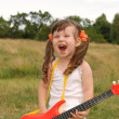 The girl with a guitar — Stock Photo