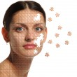 Female face close up and details puzzle — Stock Photo #6199661