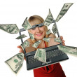 The woman with the laptop in hands and fly out dollars — Stock Photo