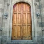 Двери деревянные в древнем замке — Стоковое фото