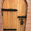 Wooden doors with lock - Stock Photo