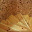Wooden spiral staircase — Stock Photo