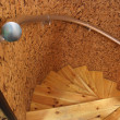 Wooden spiral staircase - Stock Photo