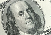 Benjamin Franklin close up — Stock Photo