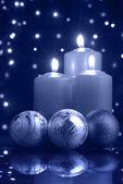 рождественский вечер голубой холодной — Стоковое фото