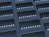 Computer microchip background blue — Stock Photo