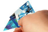 Credit cards in a hand of the man — Stock Photo