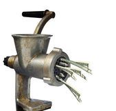 Dollars and meat grinder — Stock Photo