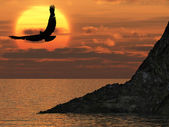 Eagle and fantastic sunset — Stock Photo