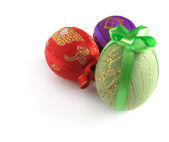 Easter painted egg tied up by tapes 3 — Stock Photo