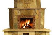 Fireplace isolated — Stock Photo