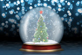 Glass sphere with fir-tree abstract background — Stock Photo