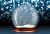 Glass sphere with snow from background — Stock Photo