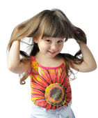 Happy little with sumptuous hair — Stock Photo