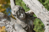 Tombstone an angel with a cross — Stock Photo