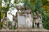 Tombstone family on a cemetery — Stock Photo