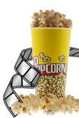 Popcorn and film — Stock Photo