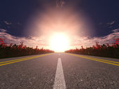 Highway and sunset — Stock Photo