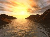 закат в заливе — Стоковое фото