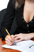 The business woman signs the contract. Photo closeup — Stock Photo