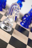 Transparent chess horse — Stock Photo