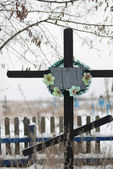 Cross on a cemetery — Stockfoto