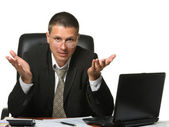 The bureaucrat emotionally shows the discontent — Stock Photo