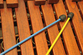 Wood xylophone and mallets — Stock Photo