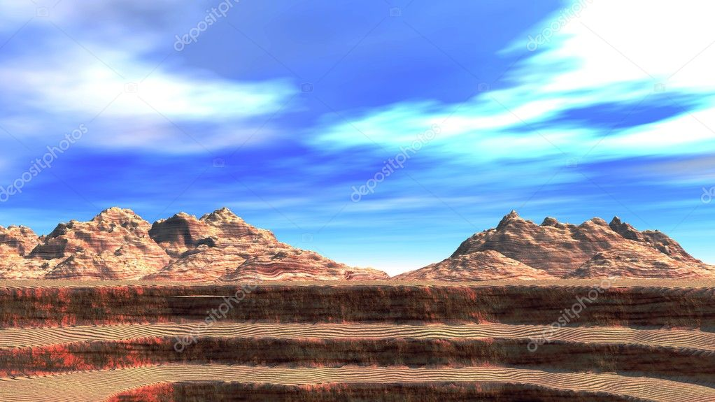 The Grand Canyon on a background of mountains (a photo 16:9)  Stock Photo #6190810