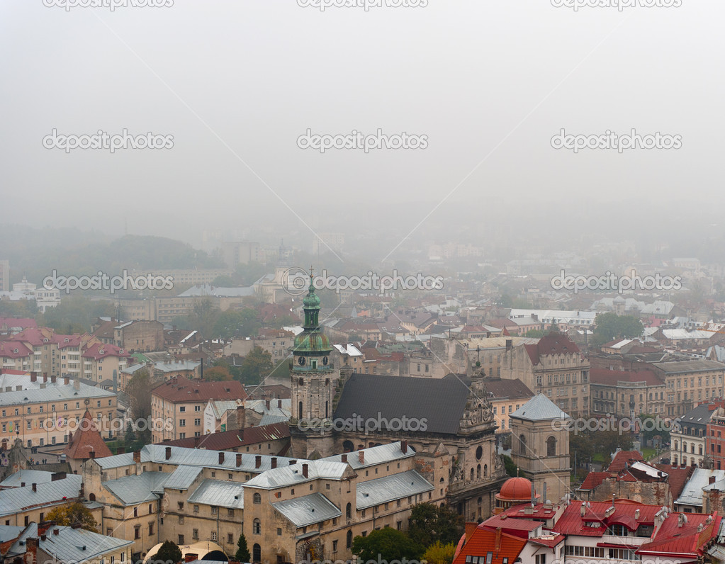 City - the top view. The city of Lvov the country Ukraine  Stock Photo #6191220