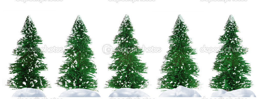 Fur-tree. A set artificial fur-trees isolated on a white background  Stock Photo #6193050